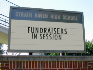 Fundraisers in session signage