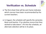Verification vs Schedule