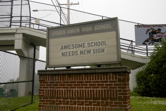 Strath Haven High School sign