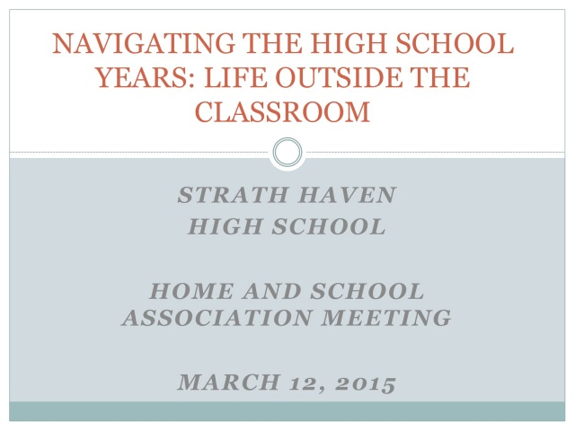 NAVIGATING THE HIGH SCHOOL YEARS: LIFE OUTSIDE THE CLASSROOM