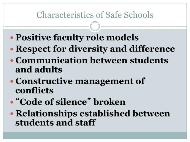 Characteristics of Safe Schools