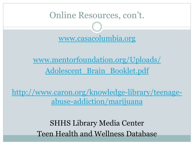 Online Resources, con't.